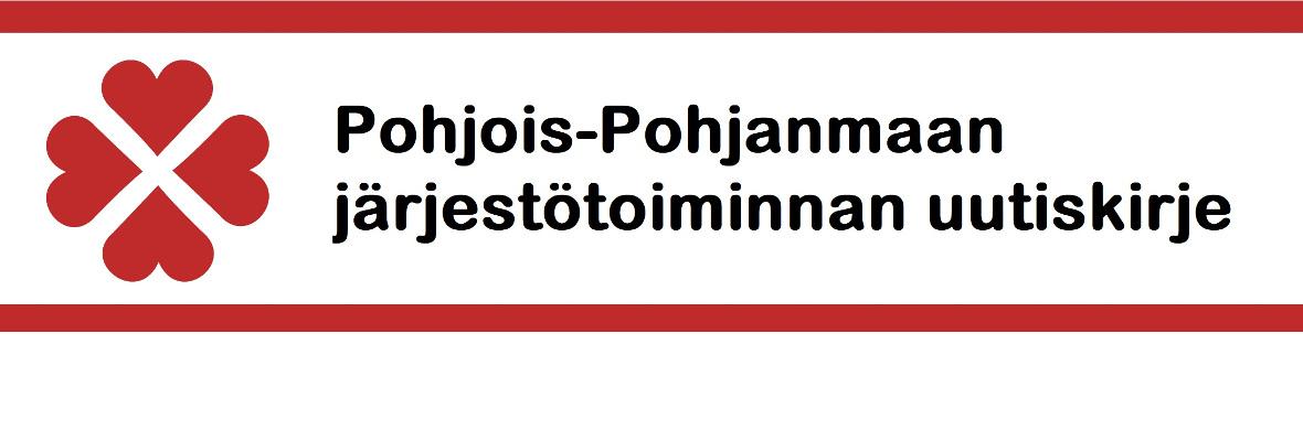 Pohjois-Pohjanmaan järjestötoiminnan uutiskirjeen yläbanneri, teskti ja punainen PPSOTU:n logo